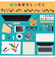 Digital art and graphic design Working place in vector image vector image