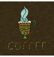 Doodle coffee cup on patterned background vector image vector image