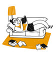 drawing character people reading a book vector image