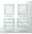 empty transparent glass box cube set for vector image vector image