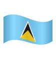 flag of saint lucia waving on white background vector image