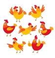 Funny cartoon red and orange chicken hen in vector image