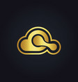 gold cloud connection logo vector image vector image