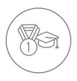Graduation cap with medal line icon vector image vector image