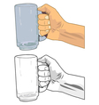 Hand holding a beer glass vector image
