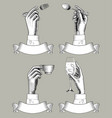 hands holding spoon fork coffee cup and vine vector image vector image