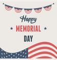 happy memorial day waving flag pennants american vector image