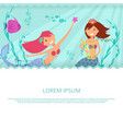 happy mermaid and underwater life banner vector image vector image