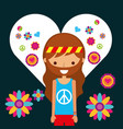 hippie man character in love heart flowers vector image