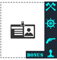 identification card icon flat vector image vector image