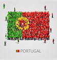 large group of people in the portugal flag shape vector image