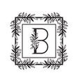 letter b alphabet with vintage style frame