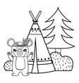 line bear animal with camp next to bush and pine vector image vector image