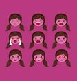 little purple girls emoticon set kawaii characters vector image