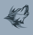 lonely howling wolf and tribal sign behind tattoo vector image vector image