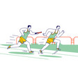 male characters running relay race on stadium vector image