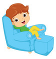 of a kid sitting on armchair vector image vector image