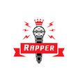 rapper badge with crown on microphone vector image vector image