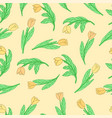 seamless pattern with cute cartoon flowers tulips vector image vector image