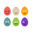 set colorful easter eggs with emojis flat vector image