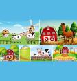 set different farm scenes with animal farm vector image