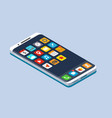 smartphone with application icons vector image vector image