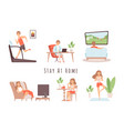 stay at home house relaxing man woman weekend vector image vector image