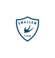 swallow shield logo design vector image vector image