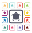 turtle flat icons set vector image