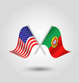 two crossed american and portuguese flags vector image vector image