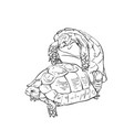 two mating turtles drawing hand drawn sketch vector image