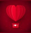 valentines day with paper cut red heart shape vector image vector image