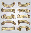 vintage ribbon banners with engraved shadows vector image