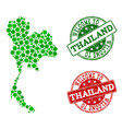 welcome collage of map of thailand and textured vector image