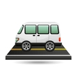 white van transport on road design vector image