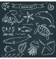 Sealife chalkboard set 1 vector image