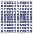 100 hi-school icons set grunge sapphire vector image vector image
