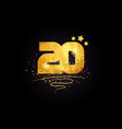 20 number icon design with golden star and glitter vector image vector image
