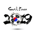 2019 new year and soccer ball as flag south korea vector image