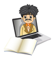 a business icon inside laptop screen with an vector image vector image
