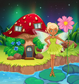 A fairy holding a flower near the red mushroom vector image vector image