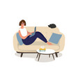 a woman is sitting on couch with laptop vector image