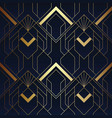 abstract art deco seamless blue and golden vector image vector image
