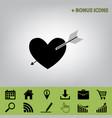 arrow heart sign black icon at gray vector image vector image