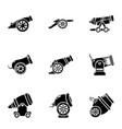 artillery unit icons set simple style