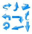 blue set arrows 3d shiny icons vector image vector image