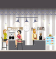 business woman drink coffe in cafe vector image