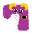 cartoon cute purple and yellow monster number vector image vector image