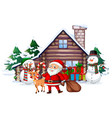 christmas scene with santa and snowman vector image vector image