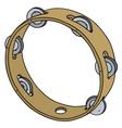 classic wooden tambourine vector image